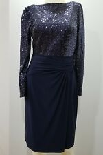 Ralph Lauren Women Dress Navy Sequined Evening Sz 8 Zipper Long Sleeves Elegant