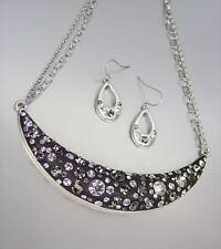 SPARKLE Smoky Gray Black CZ Crystals black Resin Necklace Earrings Set