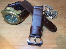 Handmade 24mm Thick Brown Top Grain Cowhide Watch Strap - Ammo , Gunny , Vintage