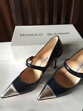 MANOLO BLAHNIK NEW Campari Mary Jane Heels Navy Blue Patent Leather 7.5 37.5 NIB