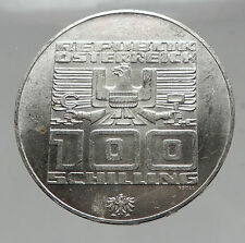 1976 Innsbruck WINTER Olympic Games AUSTRIA - SILVER 100 Schilling Coin  i63018