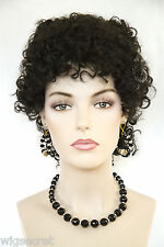 Black With White Streaks on sides Fun Color Medium Curly Fun Color Costume Wigs