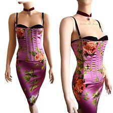 DOLCE & GABBANA vtg RUNWAY lilac corset floral rose print DRESS size 8 4 40 D&G