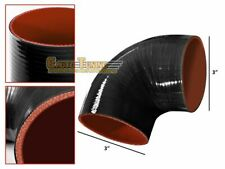"""3"""" Silicone Hose/Intake/Turbo/Intercooler Pipe Elbow Coupler BLACK For Ford"""