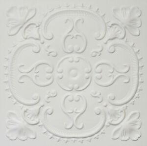 PVC Faux Tin (Glue Up/Drop-In) Ceiling Tiles 24x24 D217 White Matte