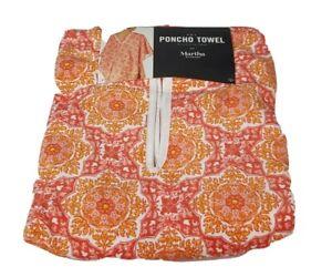 "Martha Stewart 2 in 1 Poncho Cotton Beach Towel 30"" x 64"" Orange & Pink NWT $50"