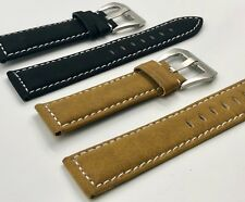 02 Straps (2) Bands 20mm Suede Leather Watch Strap Tan & Black Fast Shipping