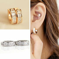 2Pcs Stainless Steel Hoop Studs Earrings Rhinestone Crystal Huggie JEWELRY gift
