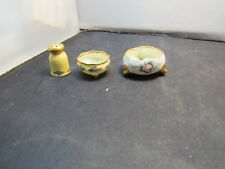 vintage porcelan salt and pepper shaker and open salt floral