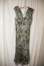 Long / Maxi Green & Gold Stripe Floral Silk Country Casuals Dress in Size 12
