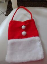 small red and white Christmas Santa suit purse gift pouch