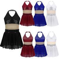 Girls Halter Lyrical Modern Ballroom Dance Dress Sequins Dancewear Show Costumes
