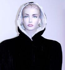 Vintage 1950 Black Velvet Coat w/White Rabbit Fur Hood Lined Full Length BUTTONS
