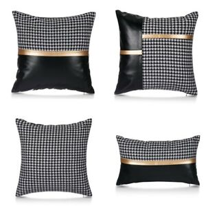 Pu Leather Houndstooth Cushion Case Patchwork Pillowcase Cover Sofa Home Decor
