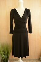 Suzi Chin for Maggy Boutique - Black 3/4 sleeve RUCHED sheath dress, size 4