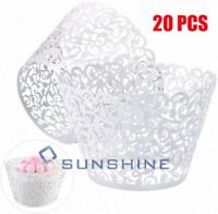 20Pcs Cupcake Wrappers Artistic Bake Cake Paper Lace Laser Cut liner Baking Cup