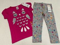 NEW! Gymboree Girls Outfit 2T Pink Owl T-shirt matching Gray Floral Leggings