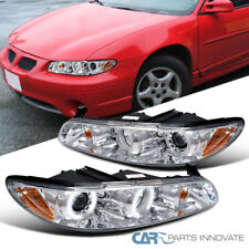 For 97-03 Pontiac Grand Prix Clear LED Halo Projector Headlight Head Lights Lamp