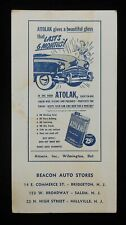 1950 Blotter Atolak Car Polish Atomix Wilmington DE Bridgeton Salem Millville NJ