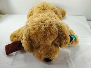 "Russ Berrie Toastin' Plush Puppy Dog 24"" Golden Brown Red Ribbon Stuffed Animal"