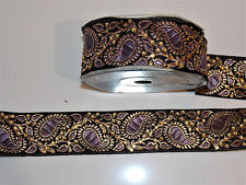4cm mauve gold paisley crystal embroidered ribbon applique trimming decor Indian