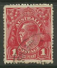 AUSTRALIA KGV KING GEORGE V One Penny Red 1d Single Watermark Used (No 23)