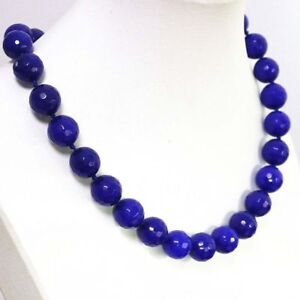 Charm Fashion 8mm blue Sapphire faceted round bead Gemstone necklace18'' JN168