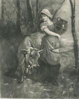 ANTIQUE DAIRY MAILD GIRL JERSEY COW SARK CHANNEL ISLANDS EDWIN DOUGLASS PRINT