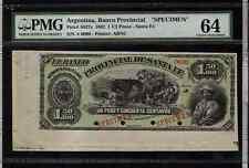 ARGENTINA 1882  1 1/2  PESOS  SPECIMEN BANKNOT PMG 64
