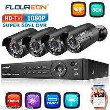 8CH 1080P 1080N ONVIF AHD CCTV DVR 4x Outdoor 3000TVL Camera Security System Kit
