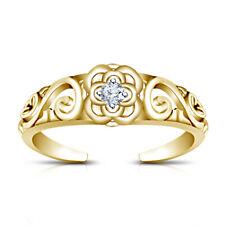 Ring In 14K Yellow Gold Finish 0.05Ct White Diamond Little Flower Adjustable Toe