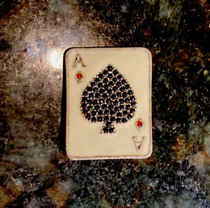 Ace of Spades Fine Silver Lapel Pin With Inlaid Stones Very Rare Find