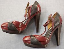 CHARLES DAVID Signet Womens Burgundy & Brown Leather High Heels Shoes NWB 6.5