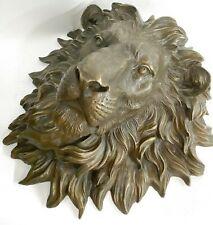 Vintage Bronze Lion Head Face Wall Art Decor  Handcrafted Masterpiece Figure Art