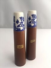 Vintage Blue Willow Porcelain and Wood Salt & Pepper Shakers