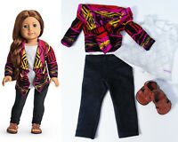 """American Girl 18"""" Doll Clothes Saige SWEATER OUTFIT & SHOES Shirt Leggings Lot!"""