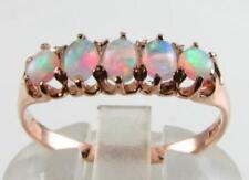 SUPERIOR 9CT ROSE GOLD VINTAGE INS AAA AUS OPAL HALF ETERNITY RING FREE RESIZE
