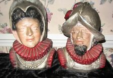 Pair Chalkware Spanish Busts From Home Decor 1971: Conquistador & Madam