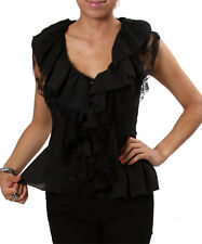 Women Black Ruffles Lacy Sleeveless Blouse w/elastic back waist. Size Small.