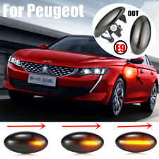 2XDynamic Sweep LED Smoked Side Indicators For Peugeot 1007 107 206 307 Citroen