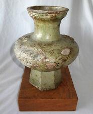 2CT BC Chinese Han Hu Shaped Jar w. Strong Iridescence on Hardwood Base (Kom)
