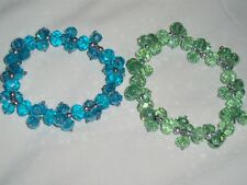 Set Lot Of 2 Stretch Nicole Arm Bracelets Clear Pale Green & Blue NWOT *