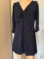 Fat Face Dress Tunic Top UK Size 16 Womens Ladies Navy Blue White Print Summer