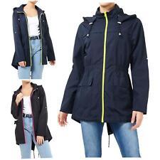 Womens Polyester Shower proof Neon Contrast Zip Mac Parka Raincoat Jackets 8-24