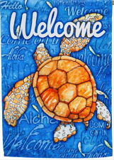 NEW LARGE EVERGREEN DOUBLE SIDED FLAG WELCOME TURTLE ALOHA HELLO COME IN 29 X 43