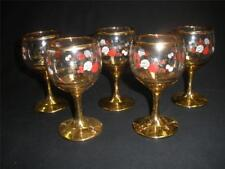RETRO FINE BOHEMIA GLASS WINE GLASSES X 5 GOLD STEM  CZECHOSLOVAKIA