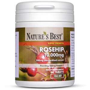Rosehip 10,000mg - 60 One-A-Day Vegan Tablets - High Strength - Natural Source