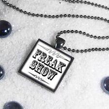 Retro Freak Show Side Show Circus Sign Gunmetal Glass Oddity Pendant Necklace