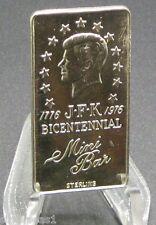 MINI BAR MINT STERLING .925 SILVER ART ~ 1776 JFK BICENTENNIAL ~ 10 GRAMS ~RARE