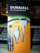Duracell Sync & Charge Cable White Du1578  ipod iphone and ipad USB